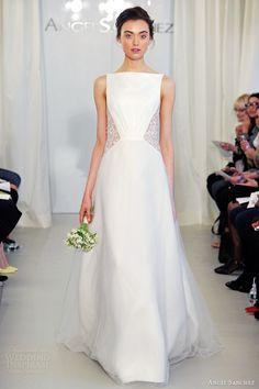 angel sanchez spring 2014 bridal sleeveless wedding dress illusion flower side insert bateau neckline