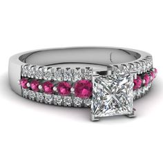 Princess Cut Diamond Side Stone Ring With Pink Sapphire In 14K White Gold | Triple Row Ring | Fascinating Diamonds