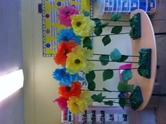 """Giant flowers made from tissue paper for school """"Wizard of Oz"""" play"""