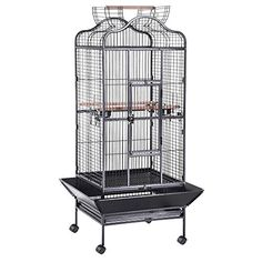 Yescom Large OpenTop Parrot Bird Cage DomeTop Play Top Vein Black Finch House Pet Supply * Check out this great product.Note:It is affiliate link to Amazon.