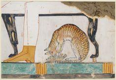 MewseumMonday Copy by Nina de Garis Davies of a tomb wall painting, Thebes: Cat…