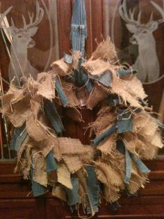 Shag burlap an denim wreath