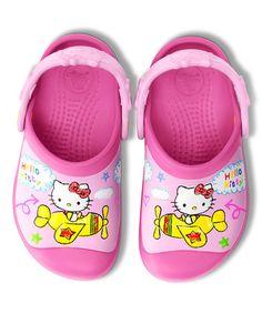 Look what I found on #zulily! Fuchsia Hello Kitty Plane Clog - Kids by Crocs #zulilyfinds
