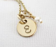 Gold Personalized Initial Necklace  Mom by PatriciaAnnJewelry, $35.50