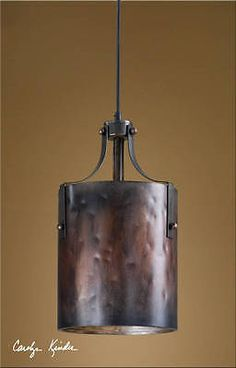 Rustic Tuscan Western Industrial Brown Copper Akron Mini Pendant Light Fixture - Industrial Pendant Lighting - Ideas of Industrial Pendant Lighting Rustic Pendant Lighting, Copper Pendant Lights, Copper Lamps, Pendant Light Fixtures, Uttermost Lighting, Copper Ceiling, Copper Metal, Ceiling Fixtures, Pendant Lamps