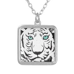 White Tiger Necklace; Abigail Davidson Art; ArtisanAbigail at Zazzle
