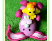 Little Polymer Easter Bunny, Easter Bunny and Chick, Tiny Pink Bunny and Chick, Kawaii Bunny-Chick, Easter Gift, OOAK - Ready for Shipping