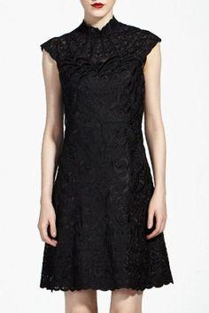 Black Stand Collar Cap Sleeve Embroidery Dress Women's: kinda gothy but I like it!
