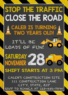 Dump Truck Birthday Invitation Construction Birthday Invitation Construction Party Construction Birthday Construction Invitation Boys - Beckett Baby Name - Ideas of Beckett Baby Name - Dump Truck Birthday Invitation Construction Birthday Construction Birthday Invitations, Construction Birthday Parties, 4th Birthday Parties, Kids Construction, Boy Birthday Invitations, Construction Business, Birthday Banners, 1st Birthdays, Invites