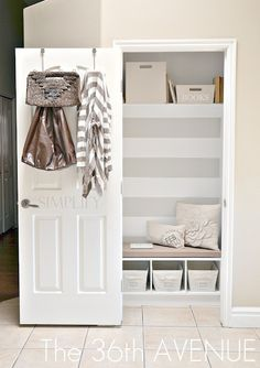 Another hall closet mud room, done without widening the space.  Small but so cute!