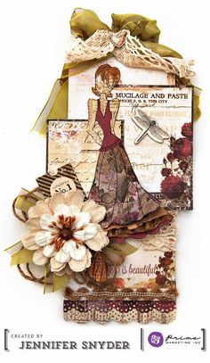 Scrap Escape blog: Design work for Prima Marketing using Julie Nutting's new doll stamp sets and other Prima goodies. #julienutting, #primamarketing #dollstamps