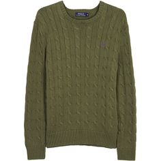 Polo Ralph Lauren Olive cable-knit cotton jumper ($140) ❤ liked on Polyvore featuring men's fashion, men's clothing, men's sweaters, mens cable knit sweater, mens cotton cable knit sweater, mens cable sweater, mens chunky cable knit sweater and polo ralph lauren mens sweater