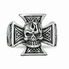 Sterling-Silver-Oxidized-Maltese-Cross-and-Skull-Ring-Sizes-9-14