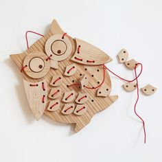 Elephant Playthings: Ollie Bird! Solid Wood Sewing Puzzle