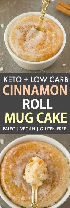 This easy Keto Mug Cake recipe tastes like a CINNAMON ROLL! Light, fluffy and moist on the inside, it is flourless, low carb and ready in just ONE minute! The best single serve dessert! keto mug cake Single Serve Desserts, Low Carb Desserts, Healthy Desserts, Healthy Food, Mug Recipes, Keto Recipes, Cake Recipes, Healthy Recipes, Keto Foods
