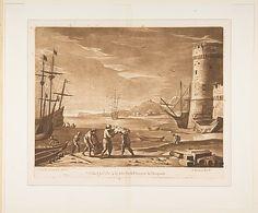 Seaport with Sailors Loading Merchandise Richard Earlom  (British, London 1743–1822 London) Artist: After Claude Lorrain (Claude Gellée) (Fr...