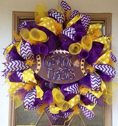 LSU Tigers Football Decomesh Wreath by SammysWreathBoutique