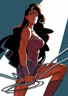 black_hair blue_eyes boots bracelet circlet dc_comics highres jewelry knee_boots lasso lee_dajung light_smile long_hair looking_afar muscle muscular_female shorts simple_background smile solo wonder_woman wonder_woman_(series) #comicart
