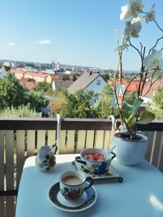 Mornings like this in Bavaria  #regensburg #coffee #breakfast #orchids #view #placetobe