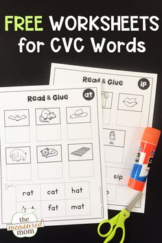 Use these free printable CVC worksheets in kindergarten and first grade. Each cut and paste worksheet features a different short vowel word family. Such a great activity for building fluency with CVC word! #cvcwords #kindergarten