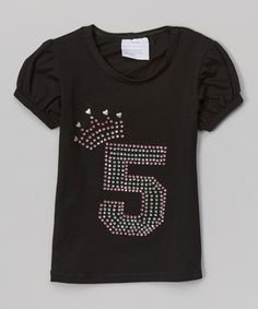 Take a look at this Black '5' Rhinestone Tee - Girls on zulily today!