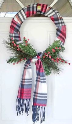 DIY Holiday Wreath Ideas – Learn How To Make Wreaths To Make Your Front Door Look Amazing – Dollar Store Hacks – Homemade Christmas Decor DIY Dollar Store Christmas Wreaths - Scraf Wreath The decoration of . Dollar Store Christmas, Christmas Holidays, Christmas Ornaments, Christmas Carol, Christmas Movies, Christmas Bows, Christmas Stuff, Christmas 2019, Homemade Christmas Wreaths