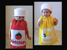 Kids Twin Set Halloween Costume Ketchup and Mustard Girl Costume Boy Costume  Children Toddler Group Costume 304f01c1e050