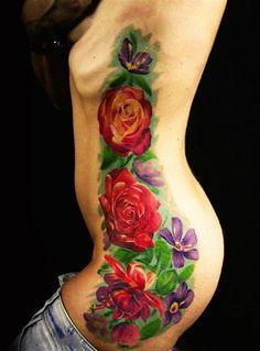 tatuagens de flores coloridas 1