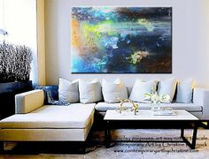 """GICLEE PRINT Art Abstract Painting Modern Blue Canvas Prints Urban Teal Brown Green City Home Wall Decor LARGE sizes up to 60"""" -Christine"""