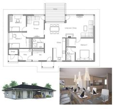 ~ Living a Beautiful Life ~ Small affordable house plan, three bedrooms, open planning, logical floor layout. Small House Living, Small House Design, Dream Home Design, Prefabricated Houses, Prefab Homes, Modular Homes, Small House Floor Plans, Dream House Plans, Floor Layout