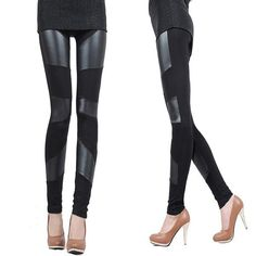 #Womens #Leggings Splicing Imitation Leather Boots #Pants - FREE SHIPPING