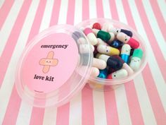 You will get one Emergency Love Pill Kit. Each Kit will includes 40 pills that are safely enclosed in a container with an adorable sticker on the front that was designed and made by me. The pills have individual slips of paper inside to write love notes, encouragements or any other message inside. The Emergency Love Pill Kit is a made to order item that promotes love and kindness to those around you. Give a daily dose of happiness!  This listing is for an assortment of colors we currently…