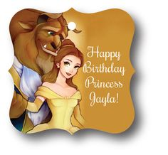 24 Beauty and the Beast Personalized Birthday Party Favor Tags with Belle #Disney #BirthdayChild