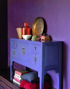 Purple wall / blue cabinet / colorful decorating  download roomhints.com/app