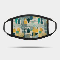 Masks by Sandra Hutter Designs | TeePublic Shape Collage, Face Masks For Kids, Blue Yellow, Mid Century, Design, Retro