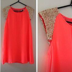 Coral Glitter Shoulder Dress