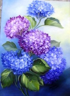 The horténsias Mina Lee Hydrangea Painting, Acrylic Painting Flowers, Acrylic Art, Fabric Painting, Watercolor Flowers, Watercolor Paintings, Munier, Painted Gourds, Painting Inspiration