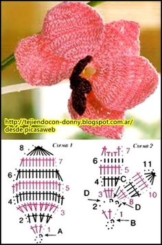 crochet fabric , CROCHET - GANCHILLO - PATRONES - GRAFICOS: FLORES TEJIDAS A GANCHILLO