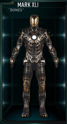 """The Mark 41 (Mark XLI), also known by its name as """"Bones"""", is a Skeleton Suit, and was one of several new Iron Man Armors created by Tony Stark as part of..."""