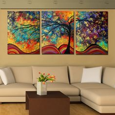 Large Wall Art Home Decor Abstract Tree Painting Colorful Landscape Paintings Canvas Picture For Living Room Decoration No Frame Living Room Pictures, Home Pictures, Abstract Tree Painting, Abstract Art, Painting Canvas, Spray Painting, Large Wall Art, Canvas Wall Art, Large Canvas