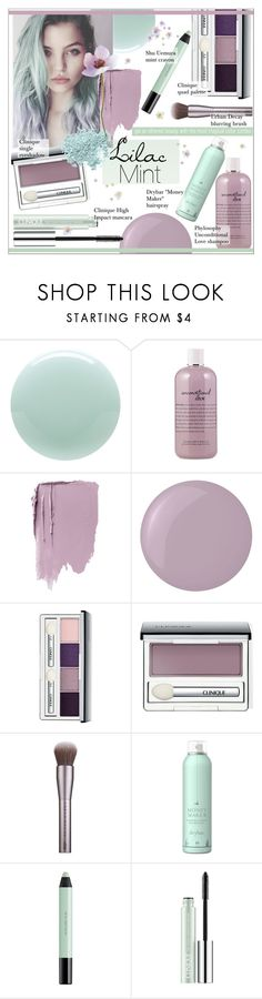"""""""Lilac and Mint Beauty"""" by alexandrazeres ❤ liked on Polyvore featuring beauty, Eve Snow, philosophy, Essie, Clinique, Urban Decay, Drybar, shu uemura, Bare Escentuals and Beauty"""