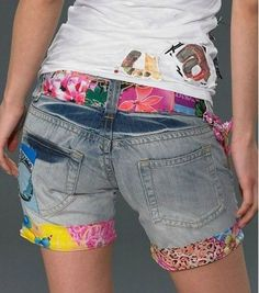 £: Hot Pants 2015 Spring/Summer Fashion New Sell Hot Desigual Embroidery Beaded Jeans Shorts Feminine Women