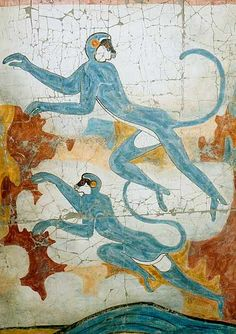 Fresco found of the Minoan culture. Creta, Ancient Greek Art, Ancient Greece, Minoan Art, Bronze Age Civilization, Mycenaean, Greek History, Historical Art, Ancient Civilizations