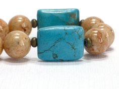 Tan Necklace Turquoise Cream Chunky Necklace Choker Sand by CCARIA, $24.00