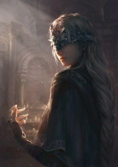 dark souls souls (from software) dark souls iii fire keeper jlien- high resolution very high resolution 1girl arch back bandaged arm bandages blindfold blonde braid building capelet cloak closed mouth gloves jewelry light particles long hair looking back mask shade silver hair single braid smile solo sunlight tied hair upper body
