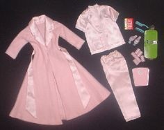 Vintage Barbie Slumber Party #1642 (1965) Pink Satin Pajama Top Pink Satin Pajama Bottoms Pink Robe with Sash Pink Open Toe Heels with Blue Pompons Pink Scale How To Loose Weight Book Pink Curlers (6) Bobby Pins (6) Blue Brush & Comb