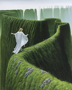 """Michael Whelan EDGEDANCER (2002)..... A cautionary, """"All good things come to an end..."""" While she dances away her day, the ground which supports her erodes into nothingness."""""""