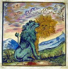 the Lion devours the Sun from Rosarium Philosophorum  depicts one of the classic symbols of alchemy - the green lion devouring the sun. As with most of the striking, and to the modern mind, somewhat 'surreal' images which populate these works, they have a bewildering range of possible meanings. But essentially the gold/sun is being dissolved/purified in some powerful solvent/green lion in order to release the seed from which pure gold may be grown.