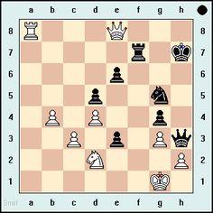 Black Mates in 3. Vladimir Kirillov vs Kan, Moscow, 1931 - More exercises on www.echecs-et-strategie.fr #echecs #chess