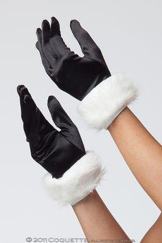 "'""Lycra and faux fur trim gloves.""'"